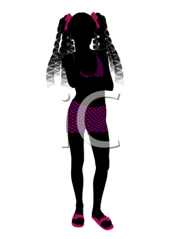 Royalty Free Clipart Image of a Girl in a Bathing Suit