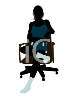 Royalty Free Clipart Image of a Woman in Lingerie in a Chair