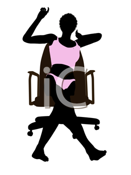 Royalty Free Clipart Image of a Woman in Lingerie Sitting in a Chair