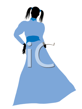 Royalty Free Clipart Image of a Woman With Pigtails Wearing a Blue Gown