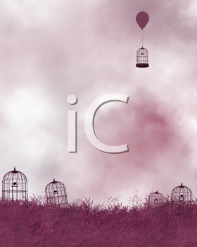 Royalty Free Clipart Image of a Pink Background With Bird Cages