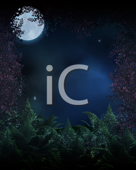 Royalty Free Clipart Image of a Forest and Full Moon
