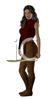 Royalty Free Clipart Image of a Woman Warrior