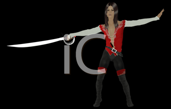 Female pirate holding a sword on a black background