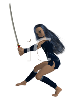 Girl standing holding a sword
