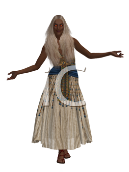 Royalty Free Clipart Image of a Woman in Egyptian Clothes