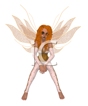 Fairy sitting down and thinking with wings spread