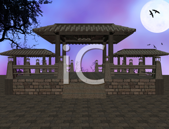 Royalty Free Clipart Image of an Asian Temple Background