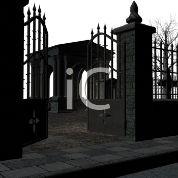 Royalty Free Clipart Image of a Building Behind a Gate