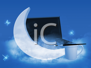 Royalty Free Clipart Image of a Moon, Insects, a Laptop and Coffee