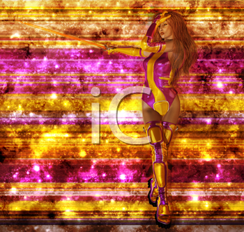 Royalty Free Clipart Image of a Warrior Woman on a Striped Background