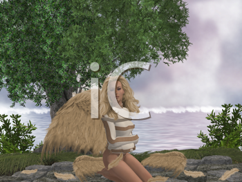 Royalty Free Clipart Image of an Angel in a Straight Jacket in the Woods