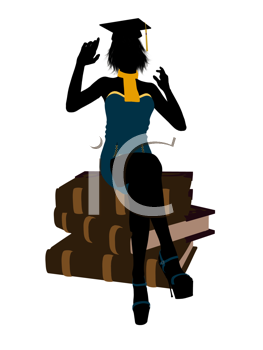 Royalty Free Clipart Image of a Woman Sitting on Books