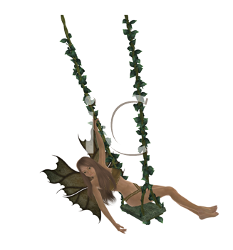Royalty Free Clipart Image of a Fairy on a Swing