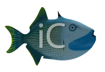 Royalty Free Clipart Image of a Strange Blue Fish