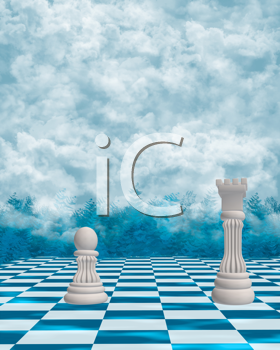 Royalty Free Clipart Image of Chess in the Clouds