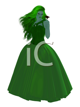 Royalty Free Clipart Image of a Girl in a Gown Holding a Bird