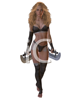 Royalty Free Clipart Image of a Woman Warrior With Tumi Blades
