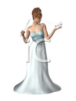 Woman dressed in a gown with a magic wand and glass slipper