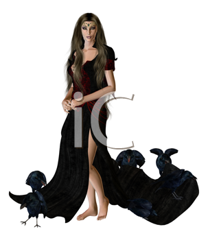 Woman dressed in a gown surrounded by crows