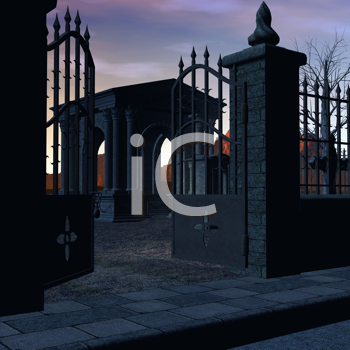 Royalty Free Clipart Image of a Gated Cemetery