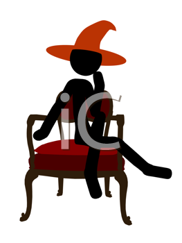 Royalty Free Clipart Image of a Stick Witch