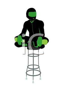 Royalty Free Clipart Image of a Biker Sitting on a Chair