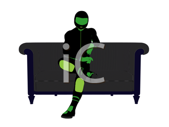 Royalty Free Clipart Image of a Motorcyclist on a Couch