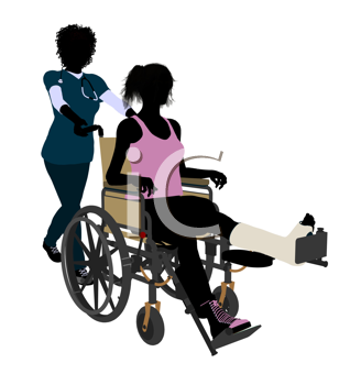 Royalty Free Clipart Image of a Nurse and Patient With a Broken Leg in a Wheelchair