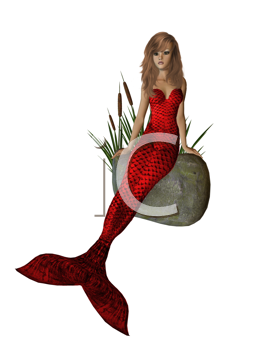 Royalty Free Clipart Image of a Mermaid on a Rock