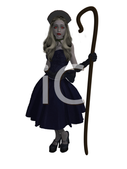 Royalty Free Clipart Image of a Little Shepherdess