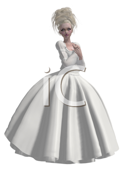 Royalty Free Clipart Image of a Girl in a White Gown