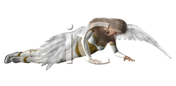 Royalty Free Clipart Image of an Angel on the Ground