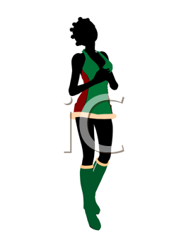 Royalty Free Clipart Image of a Woman in a Christmas Costume