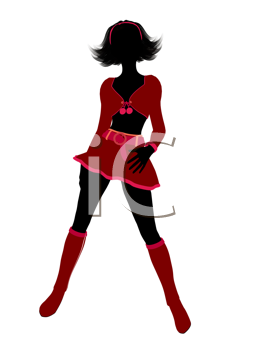 Royalty Free Clipart Image of a Girl in a Sexy Christmas Costume