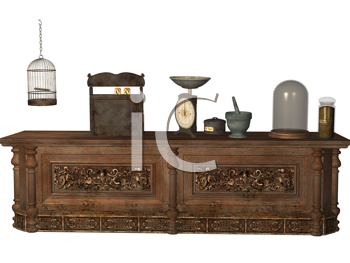 Royalty Free Clipart Image of a Counter With a Cash Registers, Scales and a Bird Cage