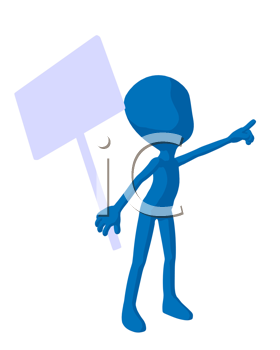 Royalty Free Clipart Image of a Blue Man Holding a Sign