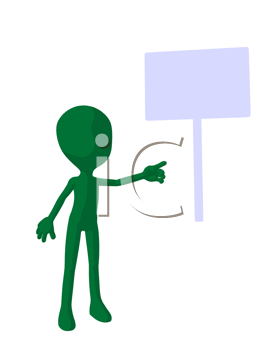 Royalty Free Clipart Image of a Green Silhouette With a Sign
