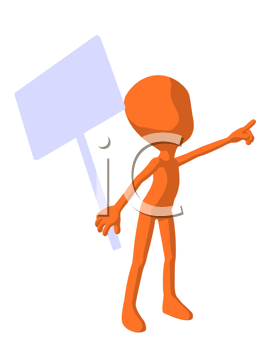 Royalty Free Clipart Image of an Orange Guy With a Sign