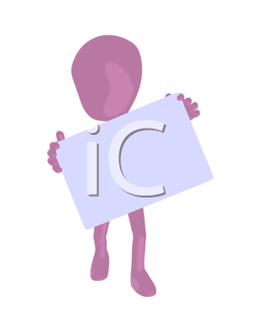 Royalty Free Clipart Image of a Pink Man With a Sign
