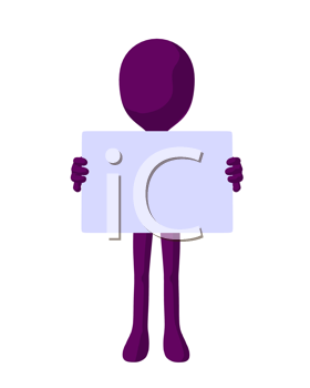 Royalty Free Clipart Image of a Purple Man With a Sign