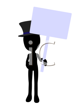 Royalty Free Clipart Image of a Silhouette in a Top Hat Holding a Sign