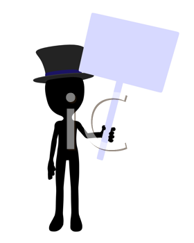 Cute black silhouette top hat guy holding a blank sign on a white background
