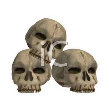 Royalty Free Clipart Image of Three Skulls