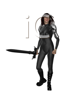Royalty Free Clipart Image of a Woman Holding a Sword