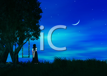 Female standing by a tree wishing upon a star