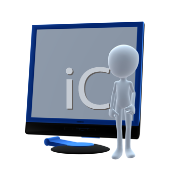Royalty Free Clipart Image of a Man and a Computer