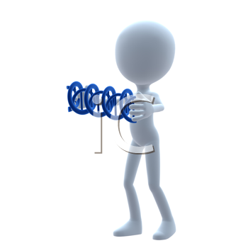 Royalty Free Clipart Image of a 3D Guy Holding DNA
