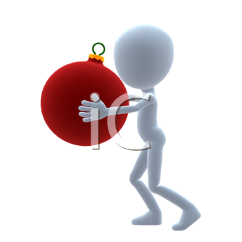 Royalty Free Clipart Image of a 3D Guy With a Christmas Ornament