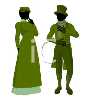 Victorian woman talking to a man silhouette on a white background